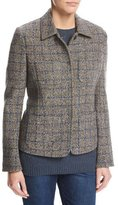 Loro Piana Inverness Tweed Blazer with Leather Trim, Gray