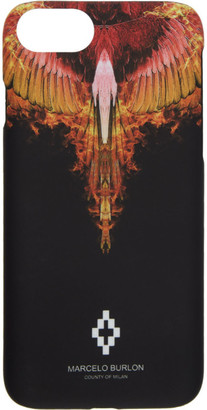 Marcelo Burlon County of Milan Black and Orange Flame iPhone 8 Case