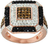 JCPenney FINE JEWELRY 14K Rose Gold Over Silver Crystal Square Ring