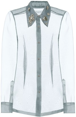 Dries Van Noten Embellished silk organza shirt