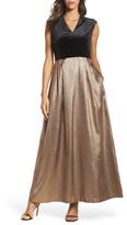 Ellen Tracy Women's Velvet & Glitter Jacquard Gown