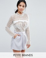 True Decadence Petite Lace Top Romper With Eyelet Detail
