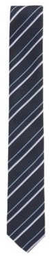 HUGO BOSS Italian Made Striped Tie In Recycled Fabric - Dark Blue