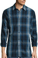 ST. JOHN'S BAY St. John's Bay Long-Sleeve Plaid Chambray Sport Shirt