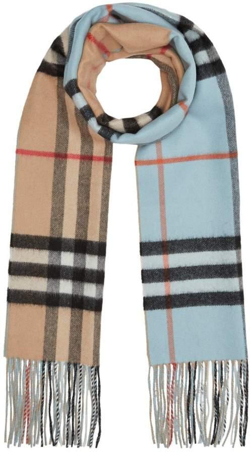 Burberry Long Reversible Colour Block Double-faced Cashmere Scarf