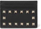 Valentino The Rockstud Leather Cardholder - Black