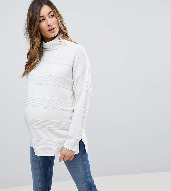 DESIGN Maternity sweater with high neck and stripe ripple stitch