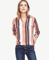 Ann Taylor Petite Mixed Stripe Camp Popover