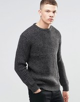 Brave Soul Color Twist Waffle Stitch Sweater