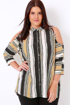 Yours Clothing Camel Mix Striped Cold Shoulder Shirt