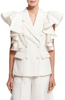 Co Ruffled Sleeveless Jacket, Ivory