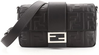 Fendi Baguette Convertible Belt Bag Zucca Embossed Leather Medium