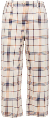 Maje Cropped Checked Twill Wide-leg Pants