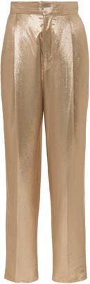 Dundas High-Rise Metallic Satin Trousers