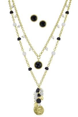 Isaac Mizrahi Live! Layered Charm Necklace & Earrings Set