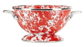 Golden Rabbit Red Swirl Enamelware Collection 1 Quart Colander
