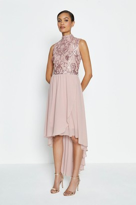 Coast Beaded Bodice Soft Dip Hem Dress
