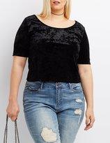 Charlotte Russe Plus Size Velvet Scoop Neck Crop Top