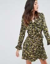 Liquorish Animal Print Wrap Dress