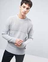 Brave Soul Mens Crew Neck Jumper With Rib Knit