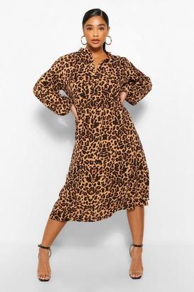 boohoo Plus Leopard Print Belted Midi Dress