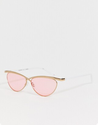 Le Specs teleport ya round sunglasses in pink