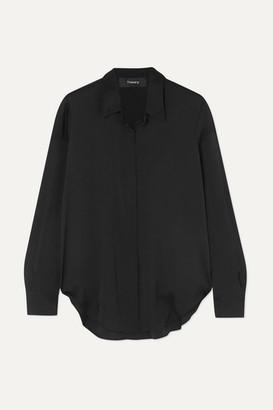 Theory Sunaya Stretch-silk Shirt - Black