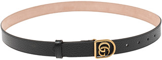 Gucci Black Leather Double G Buckle Narrow Belt Size 90 CM