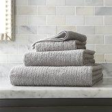 Crate & Barrel Ribbed Grey Bath Towels