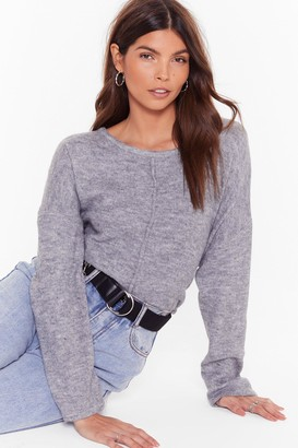 Nasty Gal Womens Relaxed Knit Jumper with Crew Line - Black - One Size