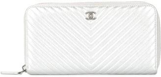 Chanel Pre Owned 2016-2017 V stitch CC zip around wallet