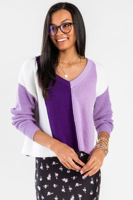 francesca's Teanne Colorblock Pullover Sweater - Purple