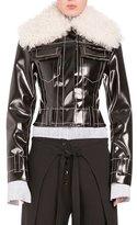 Proenza Schouler Faux-Shearling Moto Jacket, Black