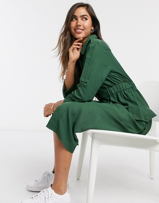 Y.A.S Verda button front shirt dress in green