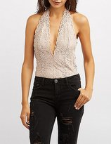 Charlotte Russe Scalloped Lace Halter Neck Bodysuit