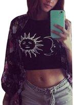Tenworld Women Halter Neck Tied Crop Vest Sleeveless Top Sun Moon Print T-Shirt