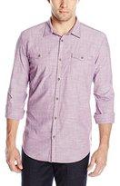Calvin Klein Jeans Men's Chambray Crosshatch Aviator Long Sleeve Button Down Shirt