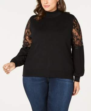 Belldini Plus Size Lace-Sleeve Mock-Neck Sweater