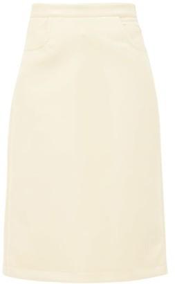 Françoise Francoise - Patch-pocket Vinyl Midi Skirt - Pale Yellow