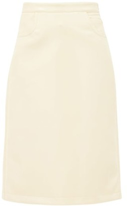Francoise - Patch-pocket Vinyl Midi Skirt - Pale Yellow