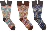Paul Smith Three-Pack Striped Stretch Cotton-Blend Socks