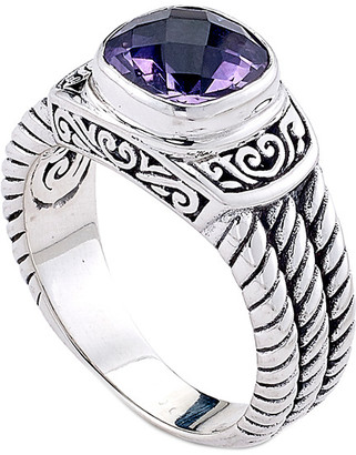 Samuel B. Sterling Silver 2.00 Ct. Tw. Amethyst Twisted Cable Bangle