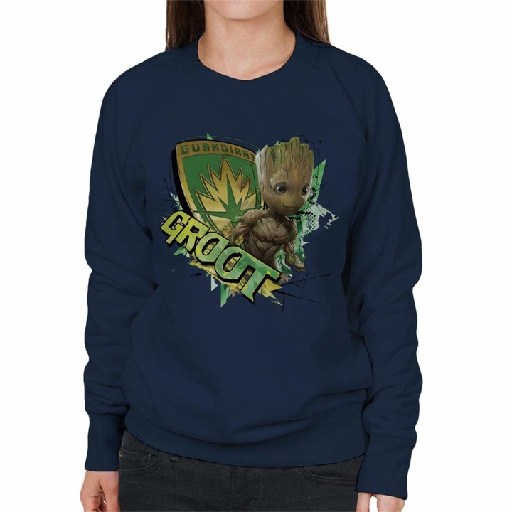 Thumbnail for your product : Marvel Guardians of The Galaxy Vol 2 Shield Groot Women's Sweatshirt Navy Blue