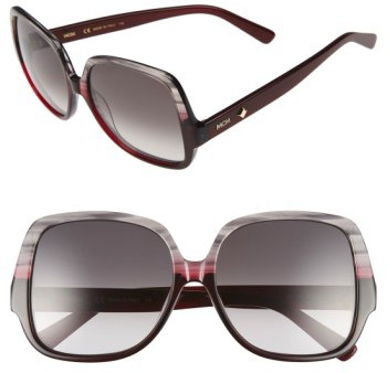 MCM Women's 58Mm Square Sunglasses - Striped Grey/ Wine