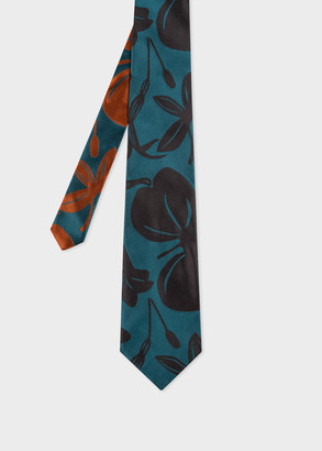 Paul Smith Men's Teal 'Floral Cutout' Silk Tie