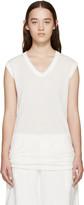Rick Owens White Sleeveless V-Neck T-Shirt