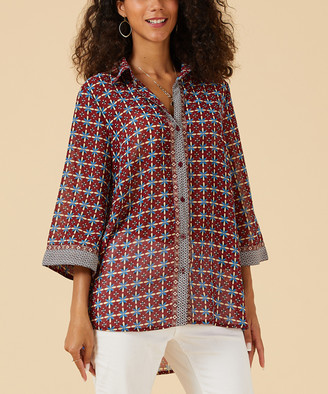 Suzanne Betro Weekend Women's Button Down Shirts 101BURGUNDY - Burgundy Floral Geometric Flare-Sleeve Button-Up Top - Women