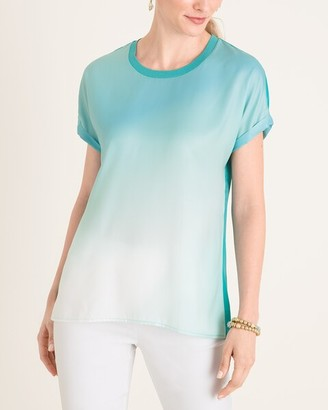 Chico's Chicos Cool-Toned Ombre Rib-Trim Tee