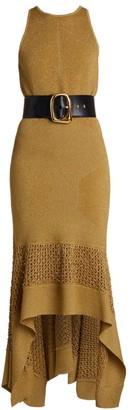 Alexander McQueen Metallic Crochet Knit High-Low Dress