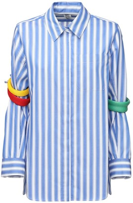 Rosie Assoulin Striped Cotton Shirt W/ Arm Bands